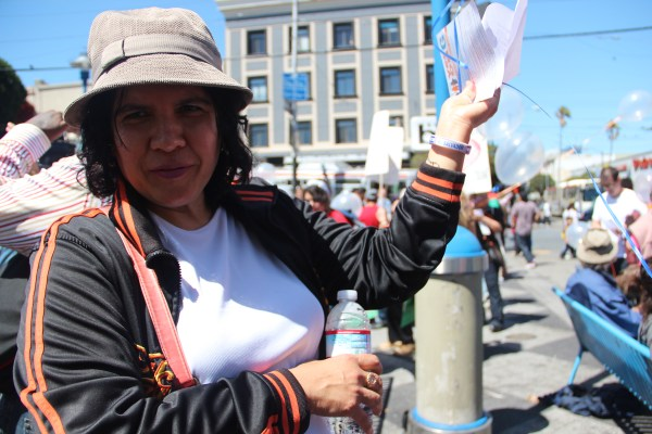 Blanca Reyes, who has lived in the Mission for 25 years, is fighting speculation at her apartment on 25th and Florida Streets. Photo by Leslie Nguyen-Okwu.