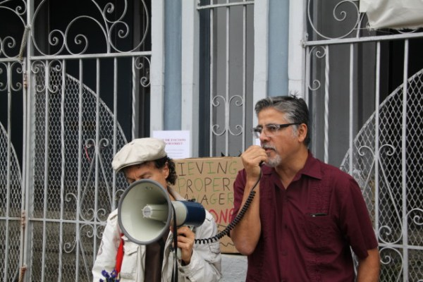 "Supervisor John Avalos spoke at the rally, calling Maldonado a ""scumbag"" and saying he doubted there was anything legal about his actions. Photo by Joe Rivano Barros."