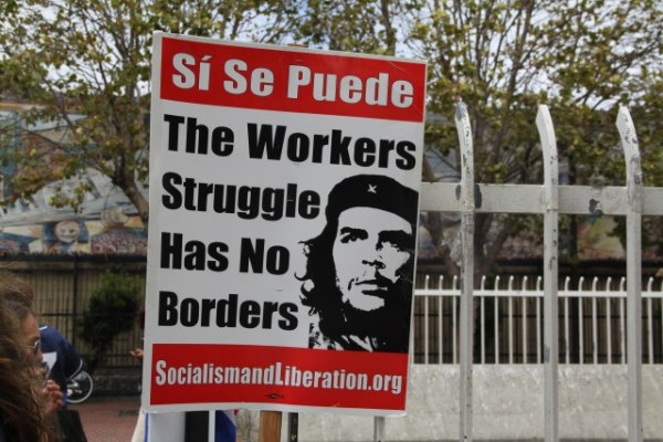 The protest remembers Latin America's most famous revolutionary in Che Guevara. Photo by Joe Rivano Barros.