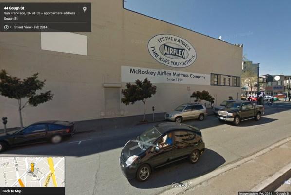 "McRoskey Mattress Company on 1678 Market Street, January 2014 via <a href=""https://www.google.com/maps/place/McRoskey+Mattress+Company,+Inc./@37.772764,-122.42165,3a,90y,236h,90t/data=!3m4!1e1!3m2!1scq_0OOmb0OJPG6SFQ0bKCA!2e0!4m2!3m1!1s0x8085809fb7aef449:0x14f0acbb80028ffa!6m1!1e1"">Google Street View</a>"
