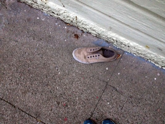 On the 200 block, a single shoe.