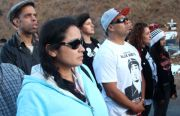 A crowd gathers to remember the death of Alex Nieto on Bernal Hill.