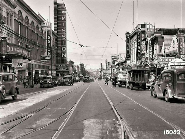 Mission Street Reconstruction Looking North from 22nd Street | July 27, 1936 | U16043 | John Henry Mentz, Market Street Railway Photographer SFMTA