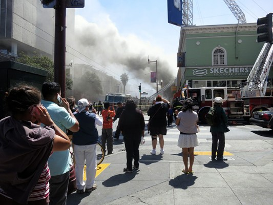 Around 1:15 p.m. After smoke had cleared. It then picked up again. Photo by Leslie Nguyen-Okwu.