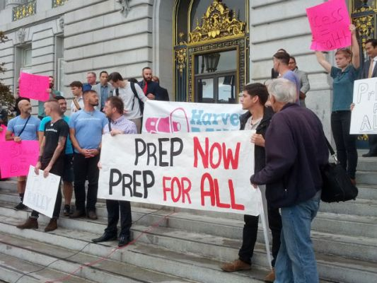 Rally to support a budget appropriation for PreP. Photo by Daniel Hirsch.