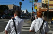 Elders  Webster and Castleberry walking down Mission Street. Photo by Daniel Hirsch.