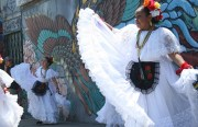 "Cuicalli Escuela de Danza perform in front of ""The Phoenix"" by Li'l Lango. Photo by Jeanita Lyman"