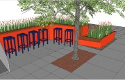 Rendering of a new parklet for Venga Empanadas!