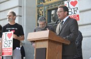 Supervisor David Campos at the unveiling of the plan for the Mission moratorium. Photo by Joe Rivano Barros.