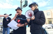 Roberto Hernandez at the corner of South Van Ness Avenue and 26th Street speaking out against the Lennar development at 1515 South Van Ness Ave. Photo by Joe Rivano Barros.