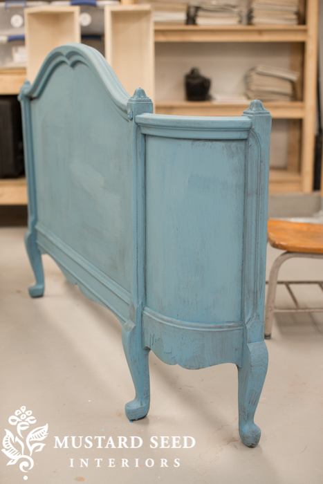 guest bed footboard painted in French Enamel MMS milk paint | miss mustard seed