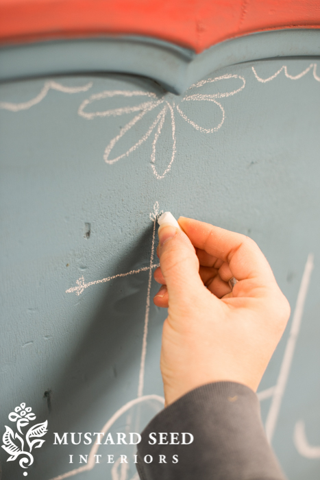 draw hand painted designs with chalk prior to painting | miss mustard seed