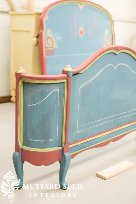 hand painted guest bed | painted panels | miss mustard seed