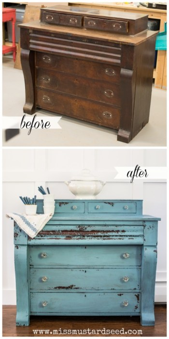 Custom Blue MMS Milk Paint Empire Dresser - missmustardseed.com