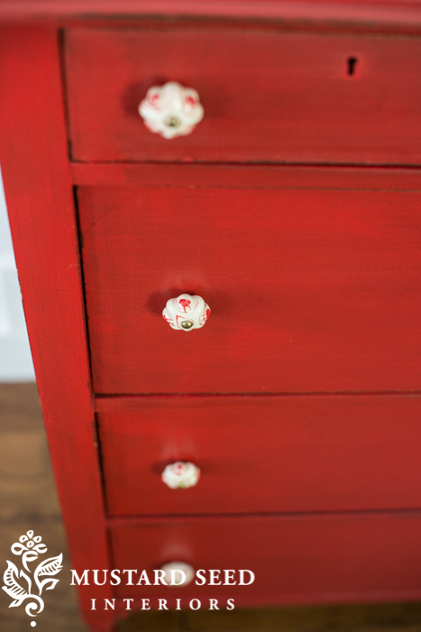 Tricycle Red Milk Paint Dresser - www.missmustardseed.com