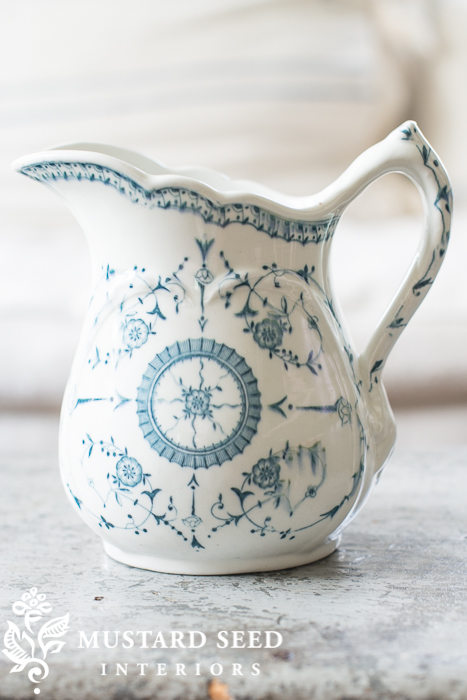 ironstone pitcher | blue & white