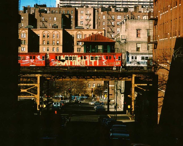 Redbird (Stay High 149) photograph by Jon Naar, 1973. ©Jon Naar. Photographer Jon Naar documented New York's graffiti art movement in 1970s and '80s including landscape images of graffiti-covered subway trains rumbling through the city. This particular photograph is of a train painted by STAY HIGH 149, a pioneer in the writing movement.