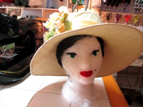 Garden party hat on creppy head