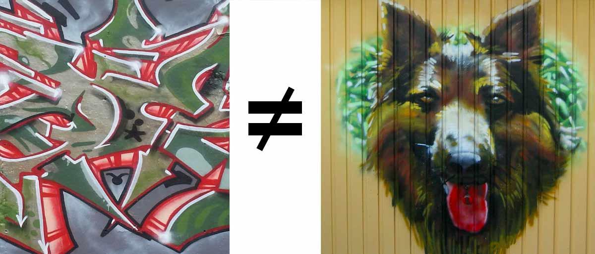 Wir malen Graffitischriften, wild und bunt. Frei von Normen.