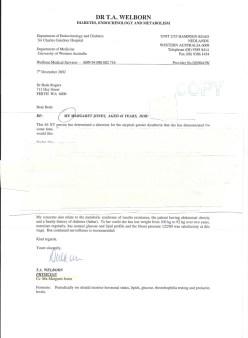 December 2002 Mx Margaret Jones, doctor's letter