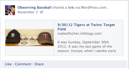 The Observing Baseball Facebook Page 2012-13 Offseason (1/5)