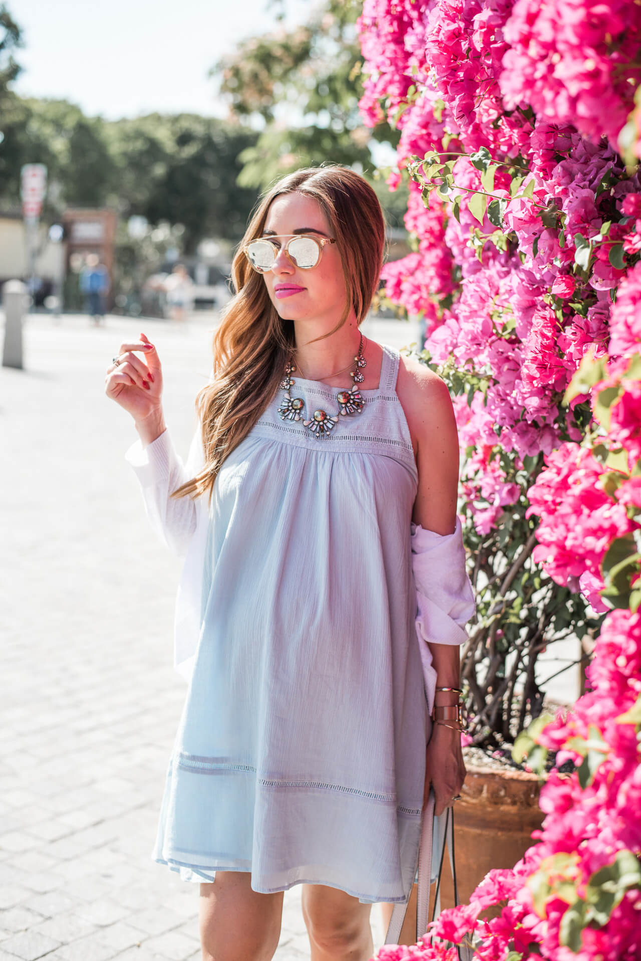 light blue sundress with statement necklace from baublebar