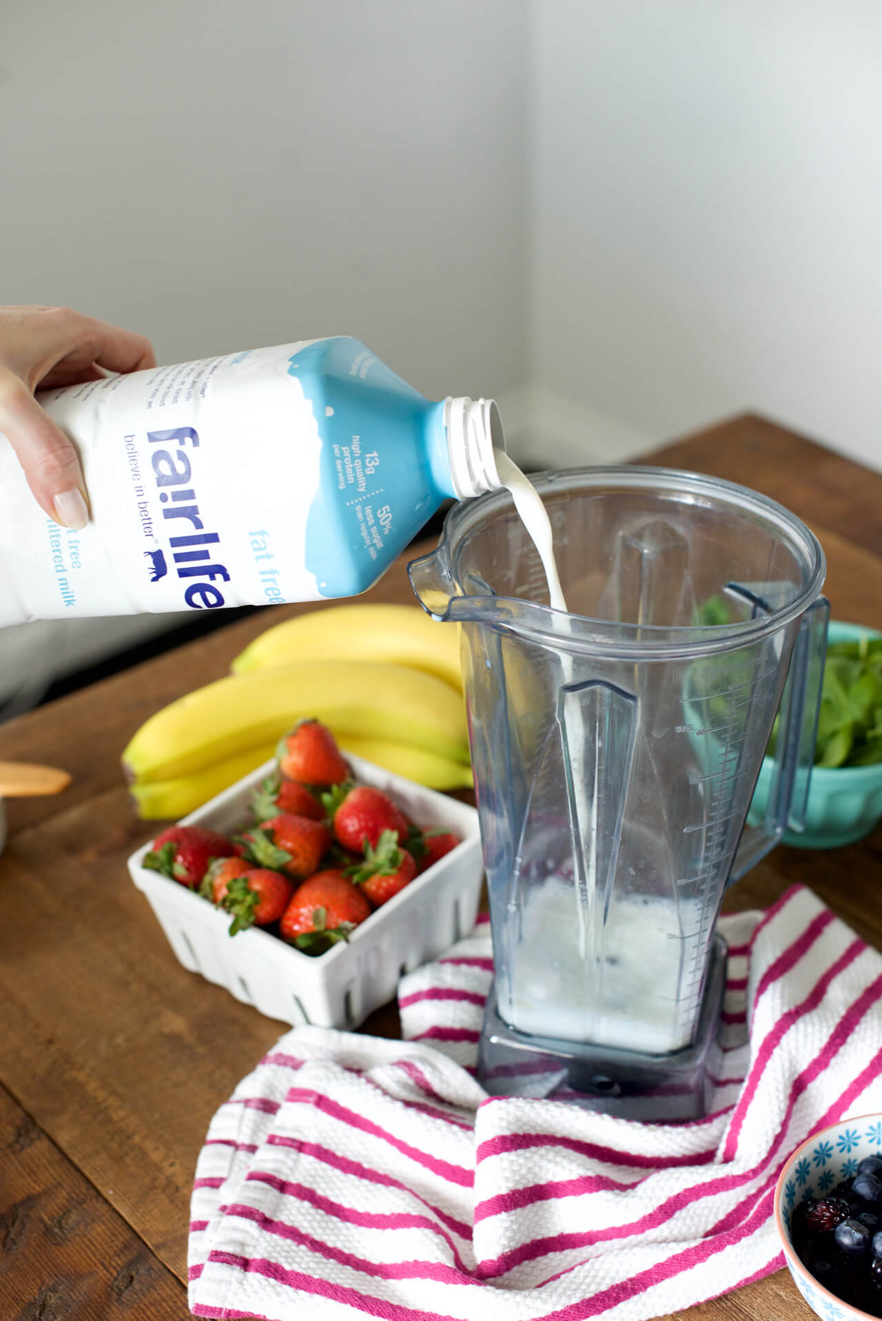 adding milk to smoothie for extra calcium and protein