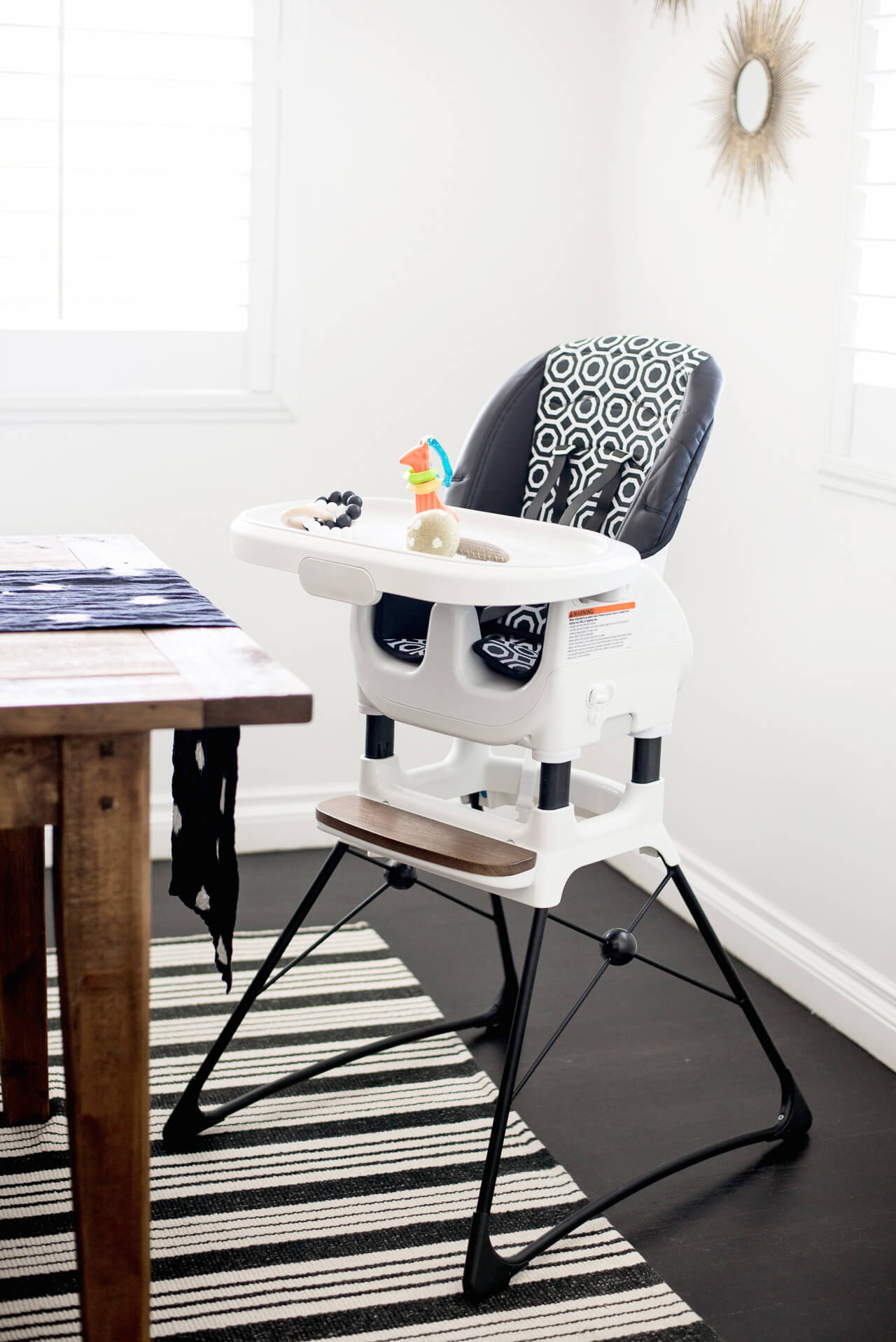 black and white stylish high chair