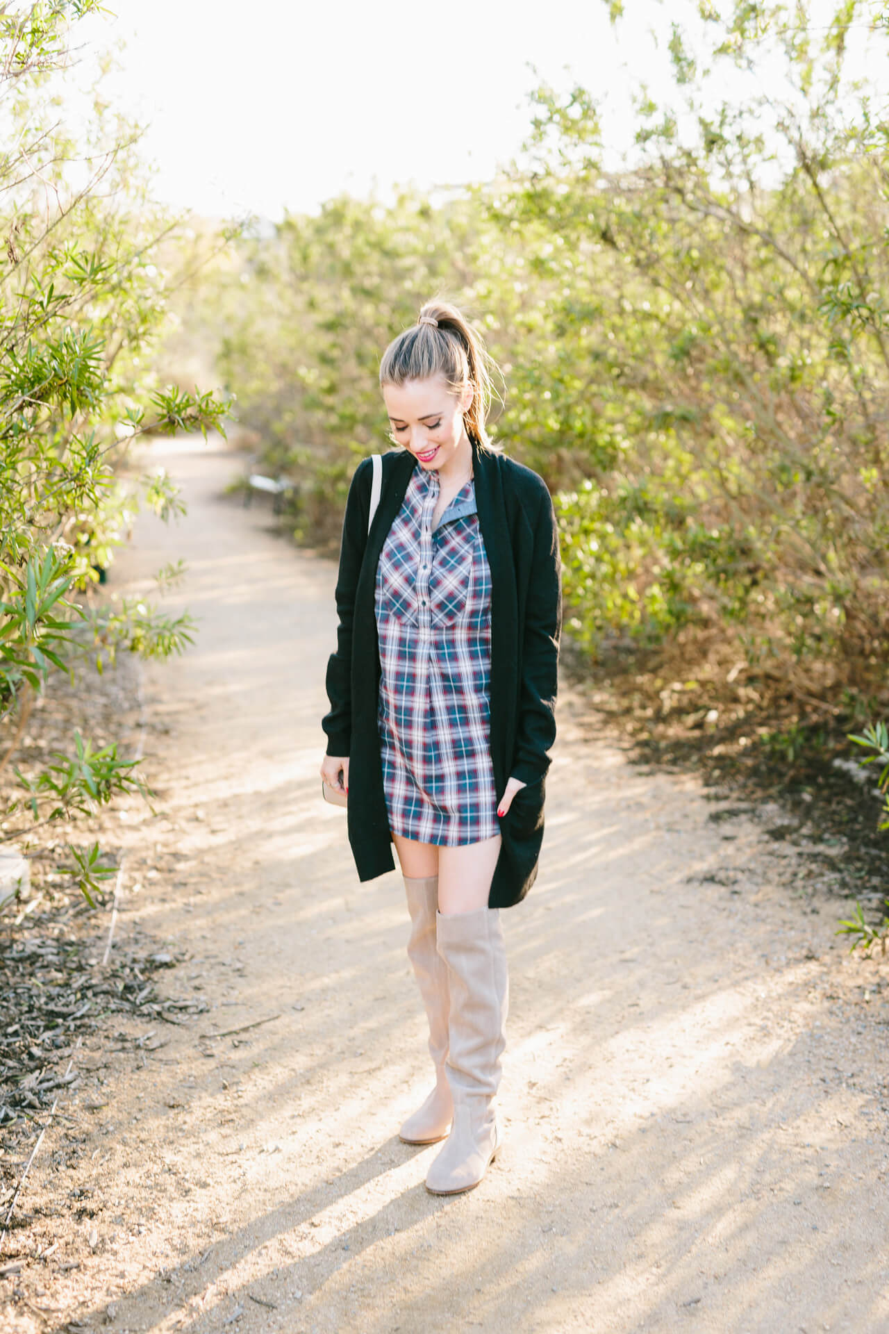 casual fall winter outfit with plaid shirtdress and over the knee boots
