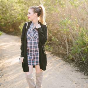 plaid shirtdress with boots