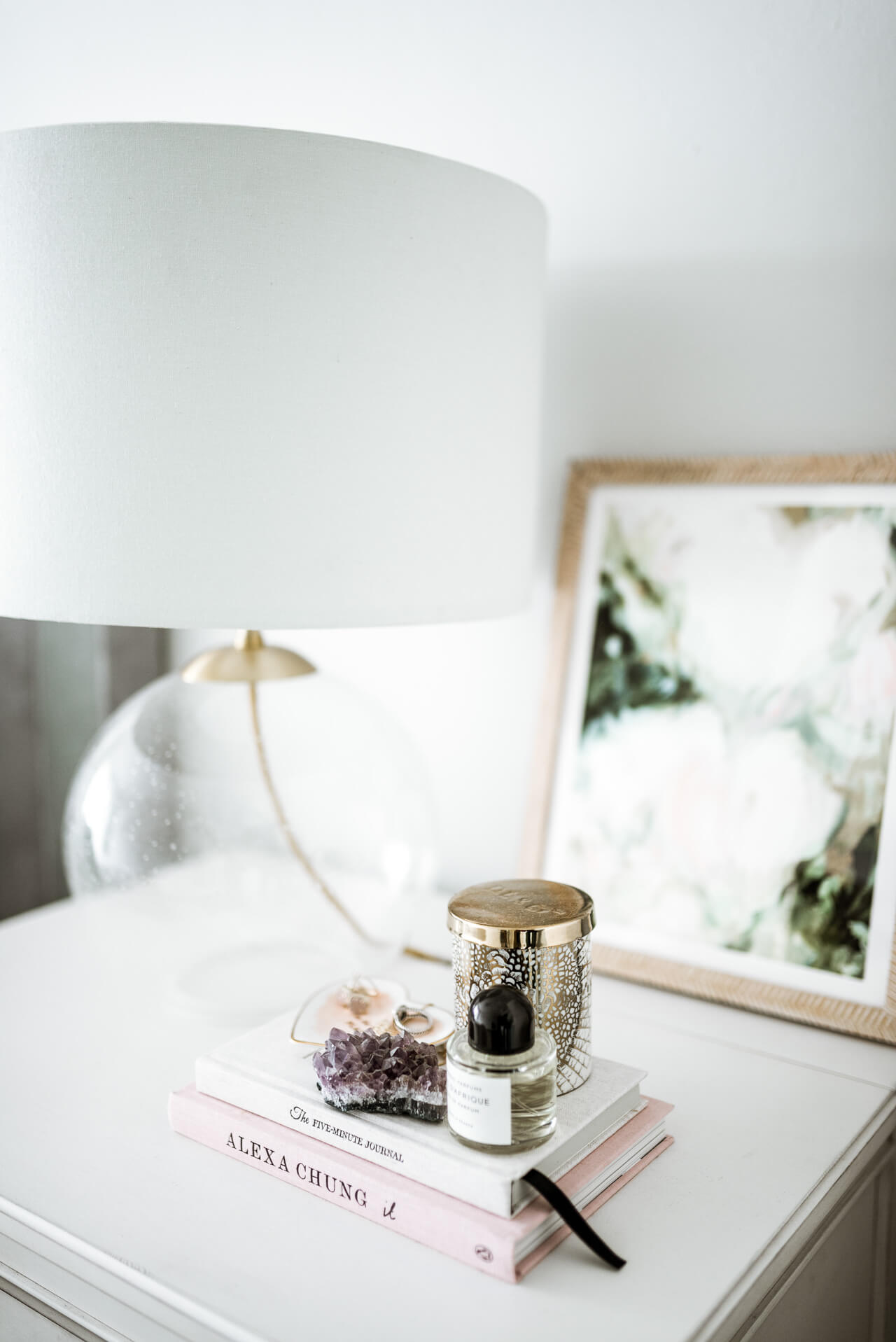 glass table lamp and minted art