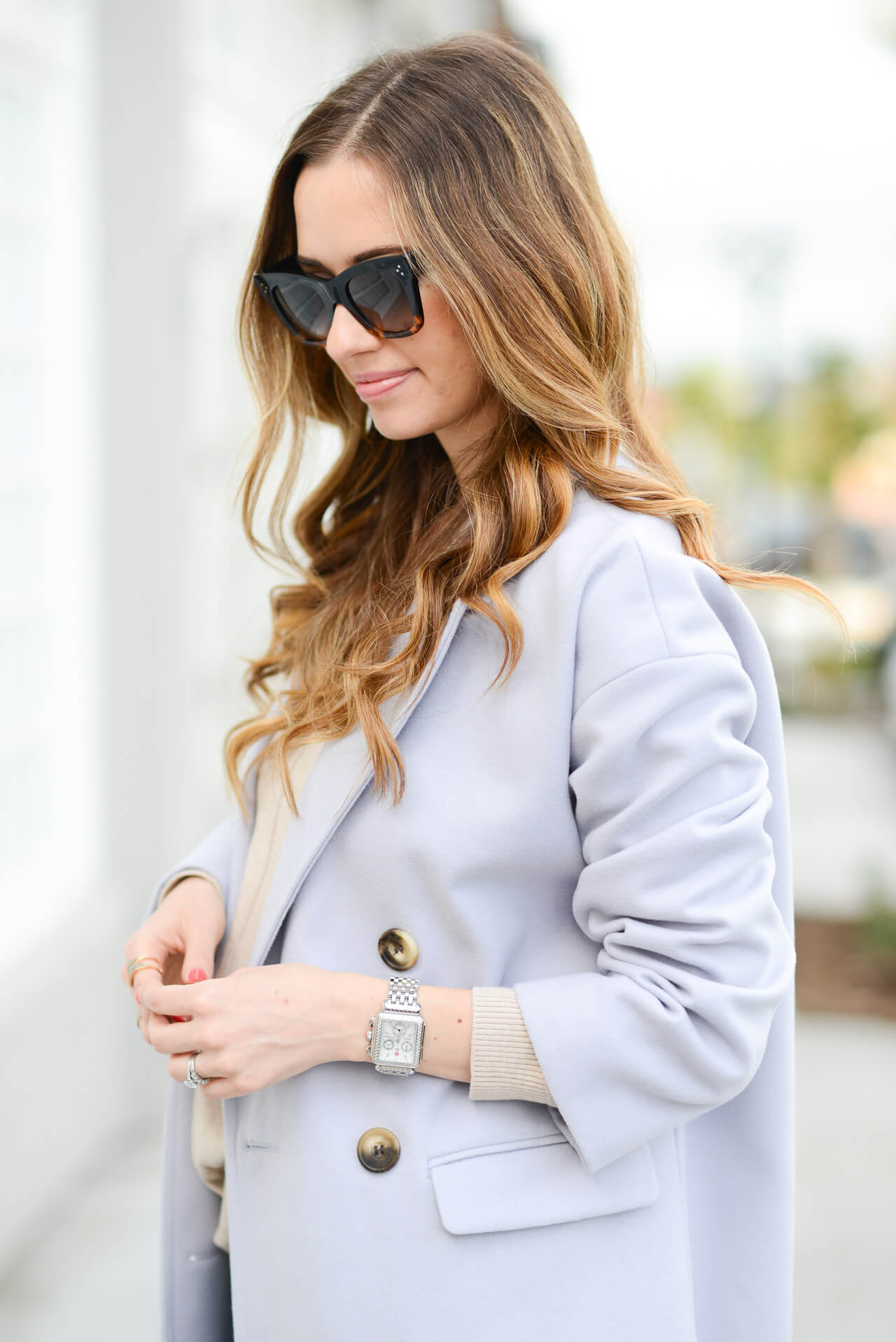 casual winter outfit with lavender coat