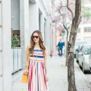 colorful striped dress outfit post
