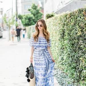 feminine blue floral maxi dress