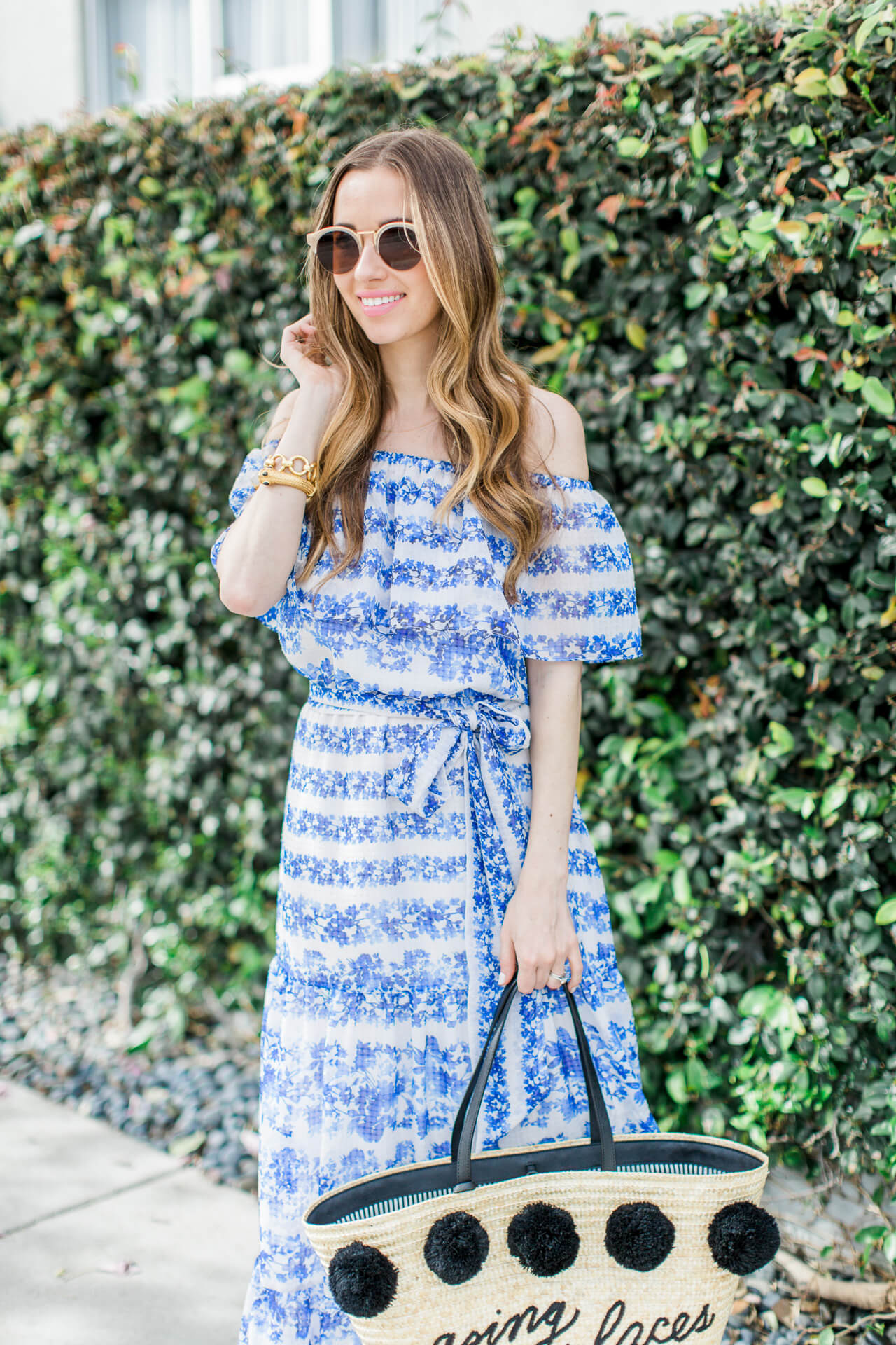 love this pretty blue floral off the shoulder dress
