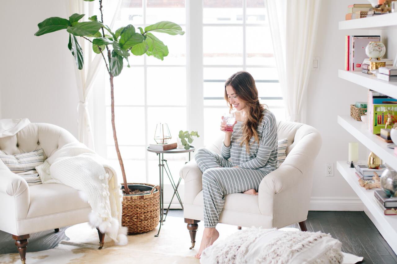 striped lounge pajamas