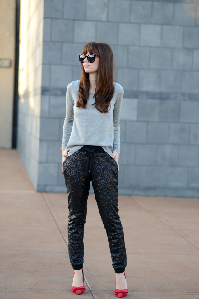 black sequin jogger pants from GUESS via M Loves M @marmar