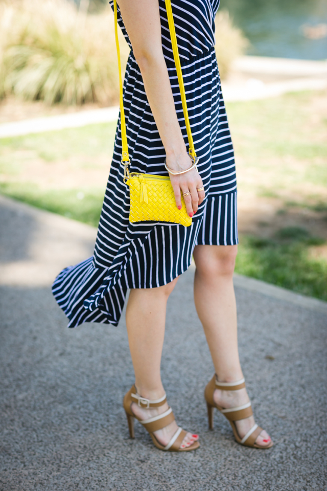 blue and white striped dress and yellow woven crossbody bag M Loves M @marmar
