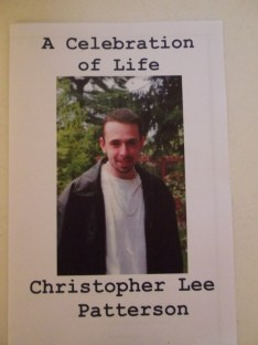 Christopher Patterson's Celebration of Life program.