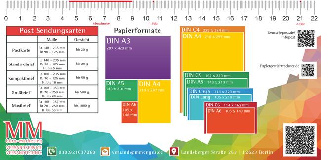 MM Mailing-Spezial-Lineal  +DIN Formate – Papier – Umschlag – Portoklassen – Lettershop – Falzposition – Adressfenster+