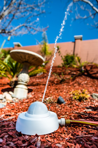 Droplet's smart sprinkler system can effectively water plants up to 30 ft. away (Photo: Business Wir ...