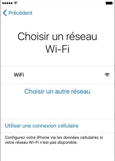 iPhone activation etape 3 wifi