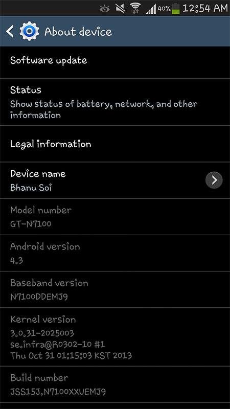 Android 4.3 Update Galaxy Note II Screenshot