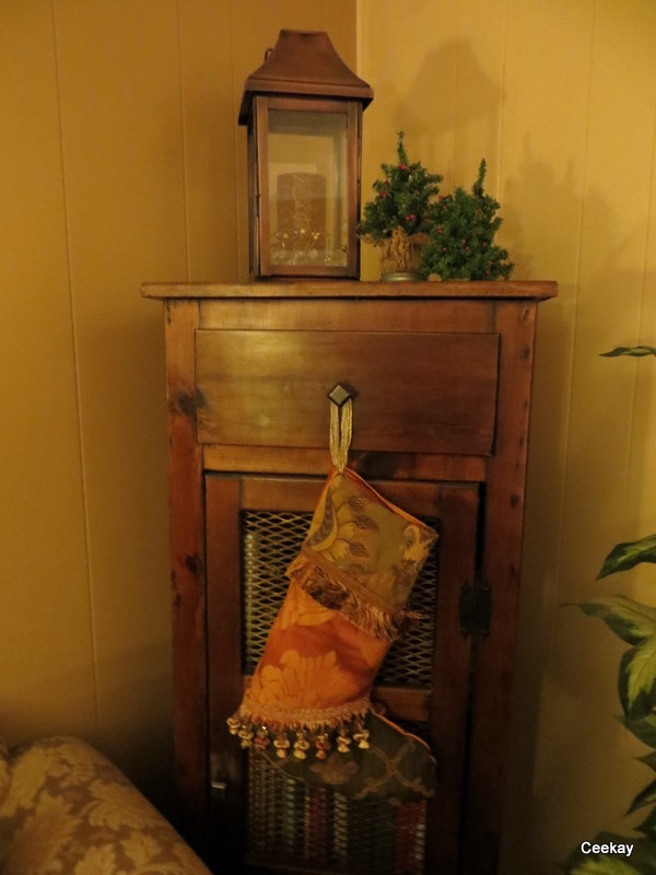 Manufactured Home Holiday Decor Ideas -Living room decorated for Christmas -Stocking Hung with care