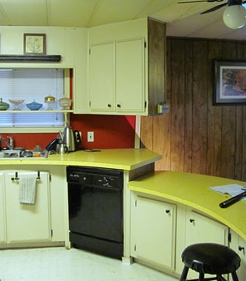 1970's model mobile home kitchen before remodel