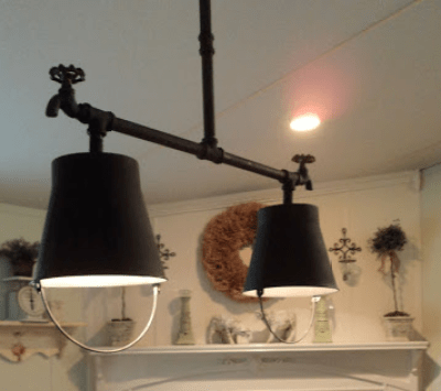 homemade chandelier - country chic double wide kitchen makeover
