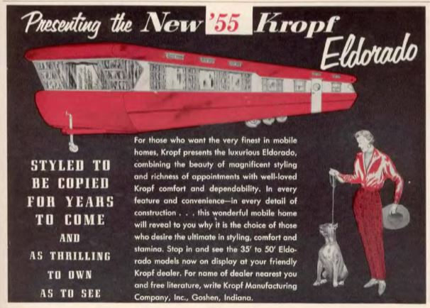 kropf eldorado mobile home 1955