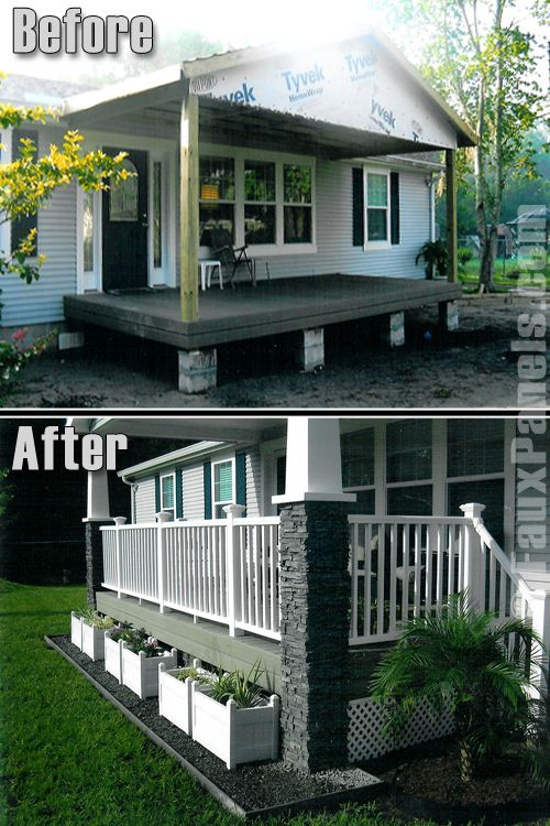 9 beautiful manufactured home porch ideas for Porch and deck designs for mobile homes