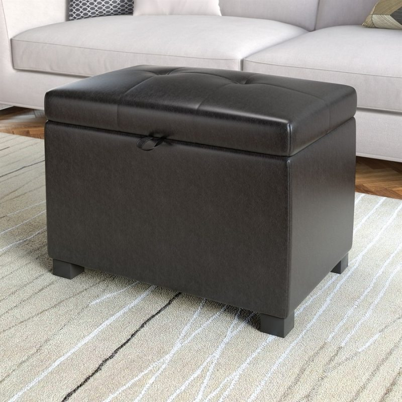 Large Of Leather Storage Ottoman