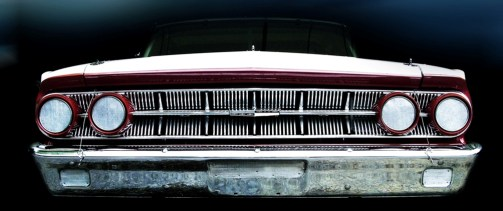 Classic car - showing the grill and headlights